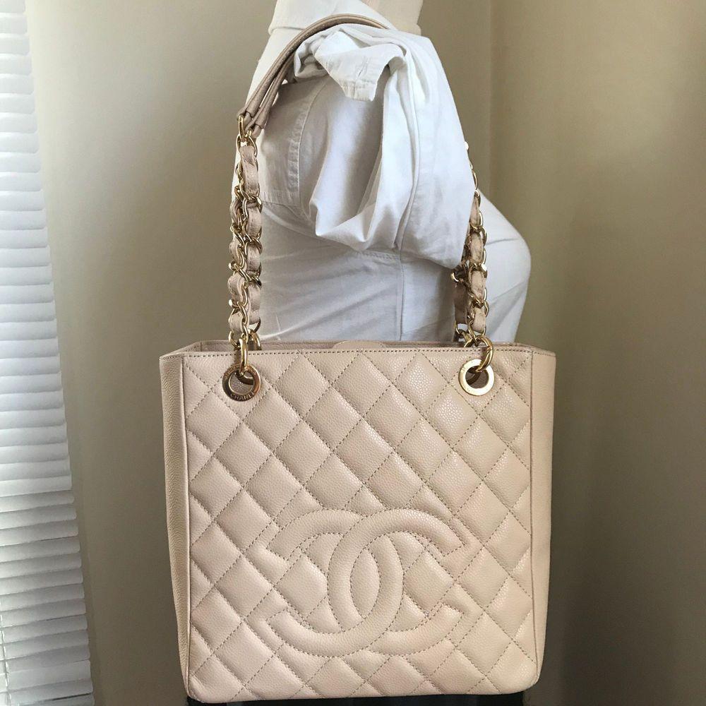 39f9adfc4813 Beige Caviar Auth CHANEL PST Petite Shopper Shopping Tote Shoulder Bag