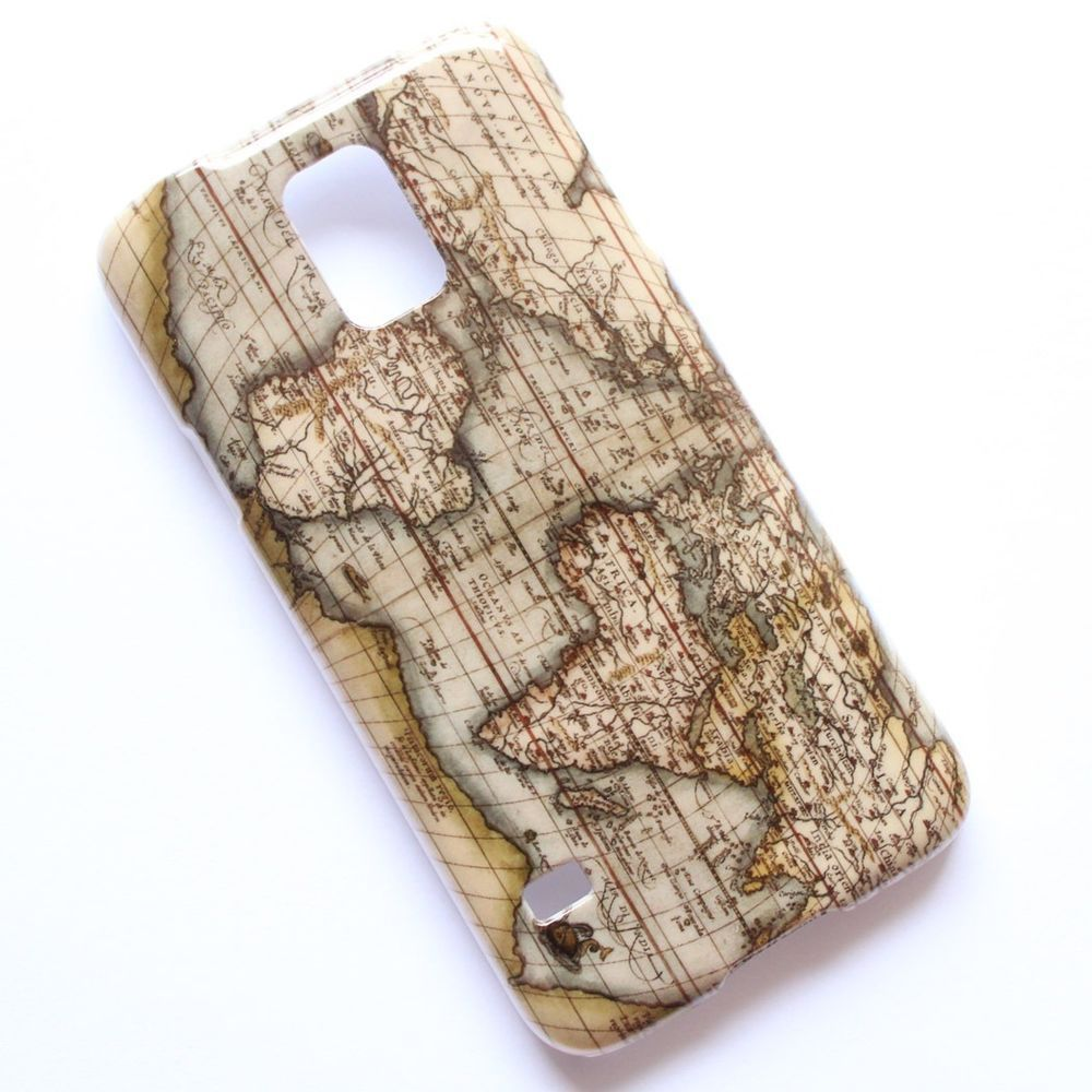 Vintage Wood Wooden World Map Pattern Samsung Galaxy S5 SV i9600 Case Cover #T04
