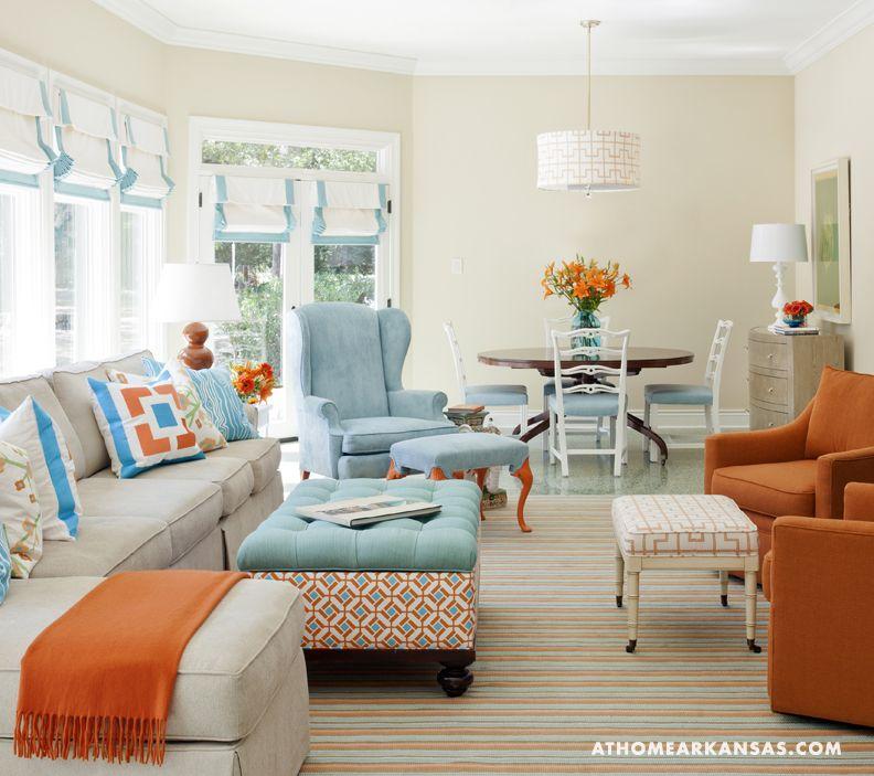 The New Traditional | Living room orange, Blue, orange ...