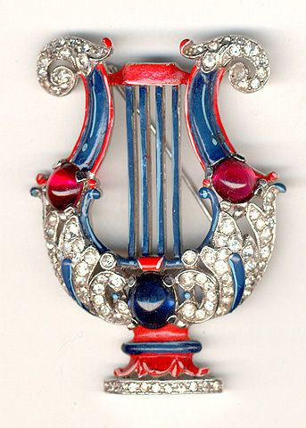 Trifari 'Alfred Philippe' Pave and Enamel Lyre Pin