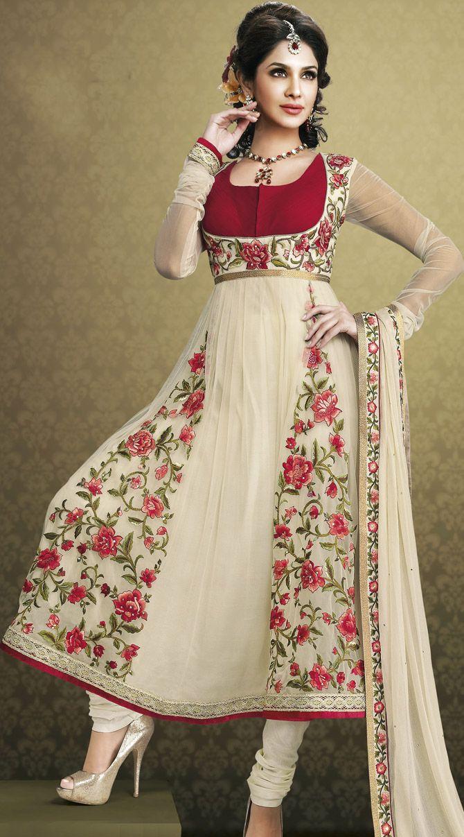 Designer Anarkali Suit In Off White Color