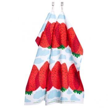 Pienet mansikkavuoret keittiöpyyhe, 2 kpl