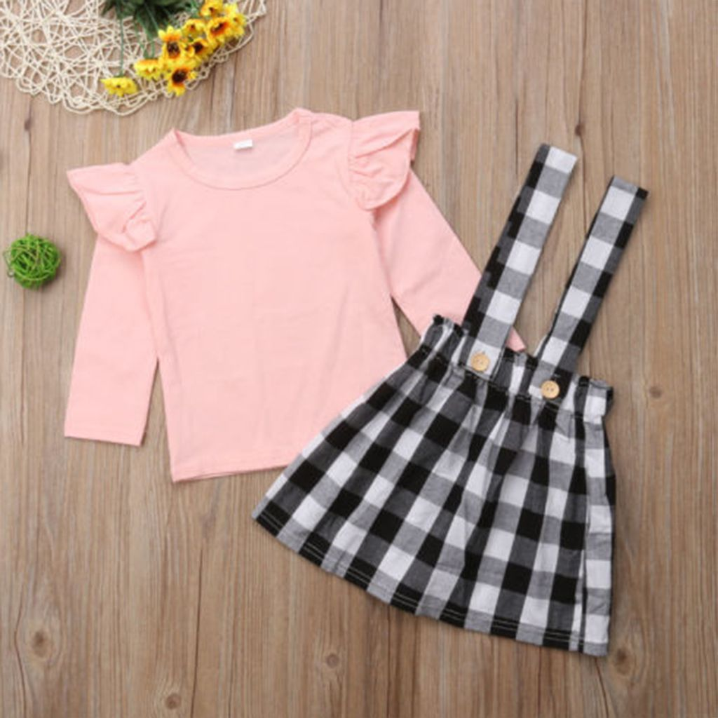 Newborn Kid Baby Girl Long Sleeve Top Suspender Skirt Dress Outfits Clothes set