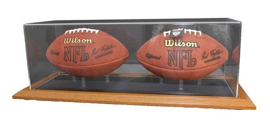 double football display case with natural color framed base