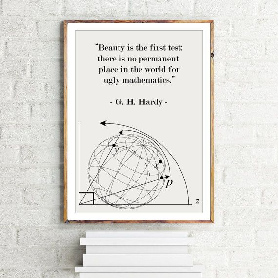 Minimalist Classroom Quotes ~ Math poster g h hardy quote beauty in mathematics
