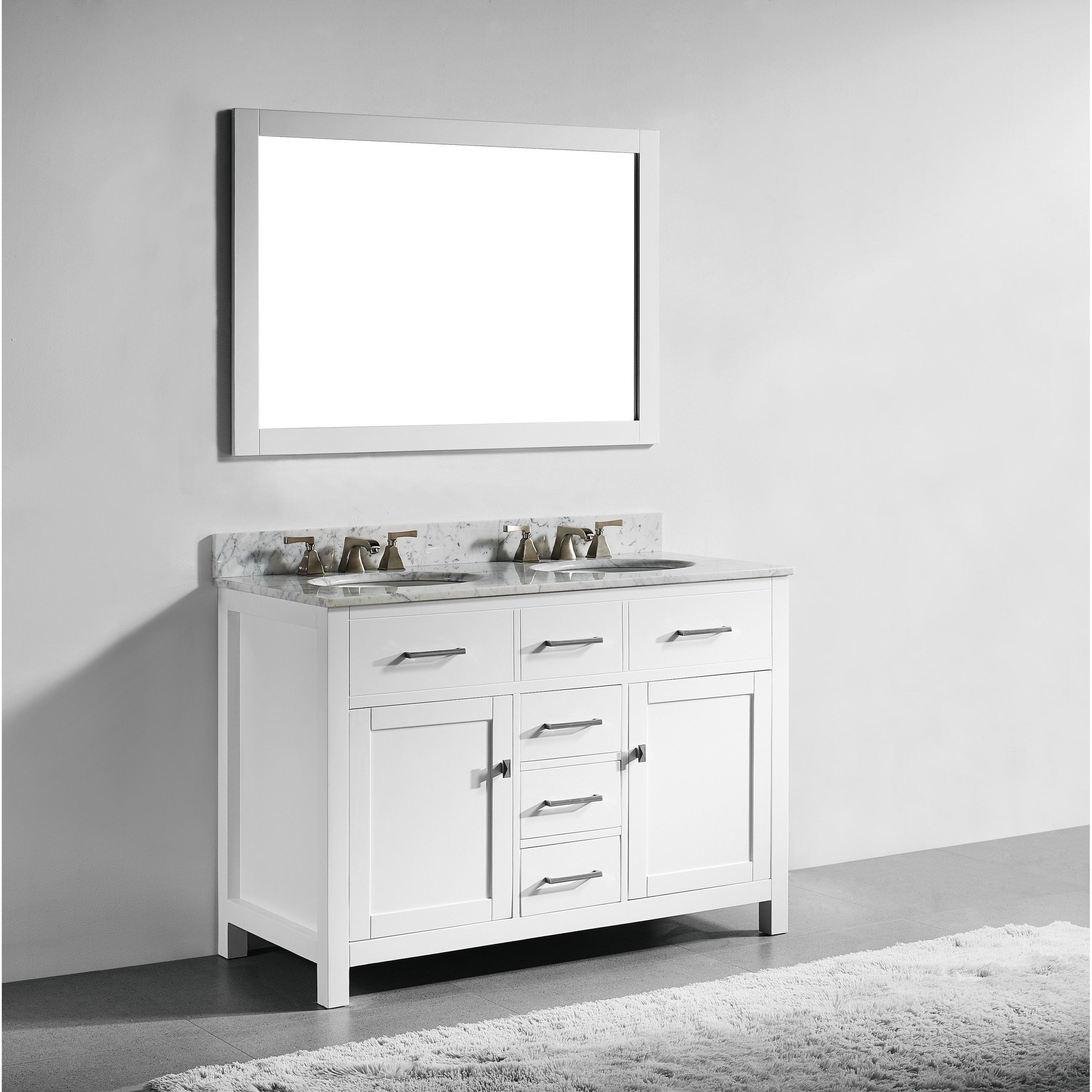 48 Inch White Finish Solid Wood Double Sink Bathroom Vanity With