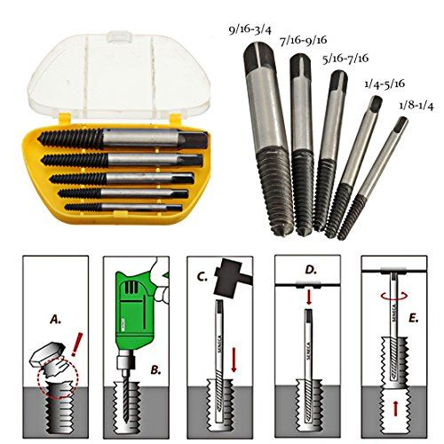 Heavy Duty Broken Screw Bolt Remover Damaged Screw Extractor Set Easy Out Kit