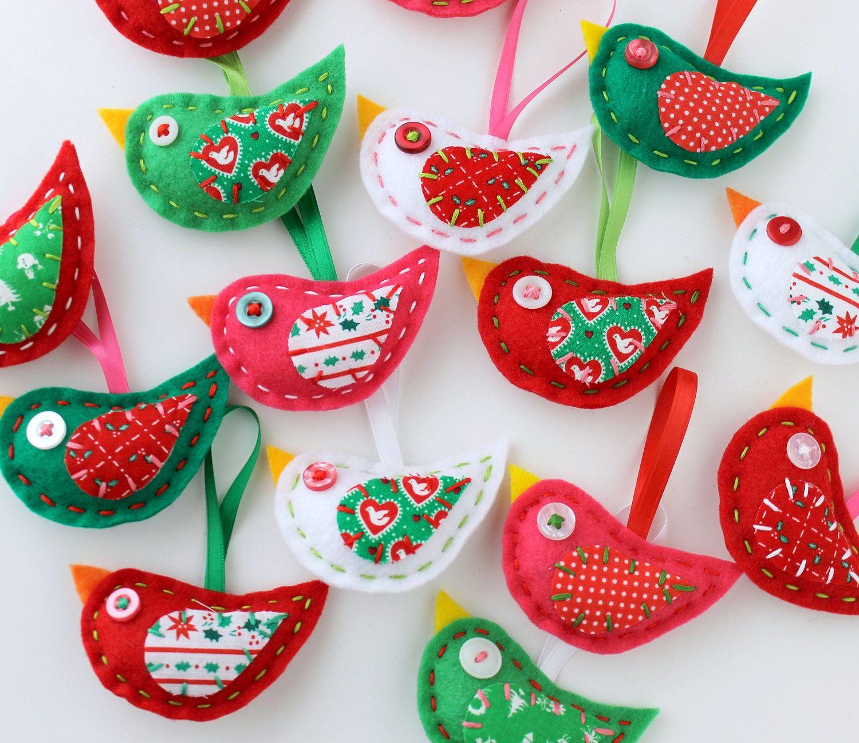 Wholesale Lot Of 8 Eco Felt Christmas Bird Ornaments Xmas Holiday Eco Friendly Recycled Bird Christmas Ornaments Felt Birds Ornaments Easy Christmas Ornaments
