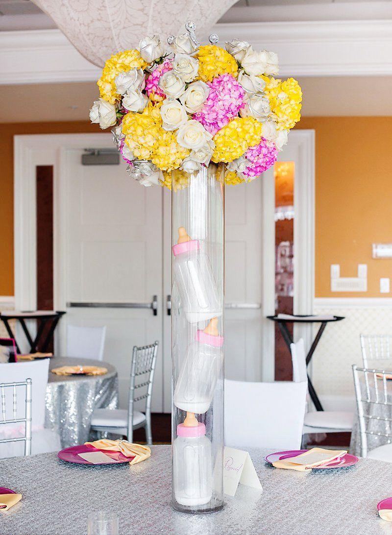 "Large Baby Bottle Decoration Glamorous Pink ""tiaras & Tutus"" Baby Shower  Baby Shower"