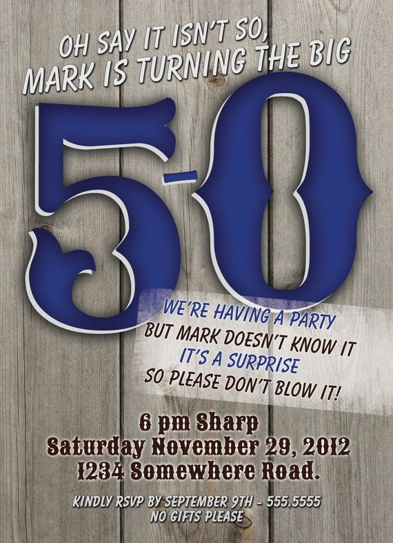 50th birthday surprise party invitations digital by thefunkyolive, Birthday invitations