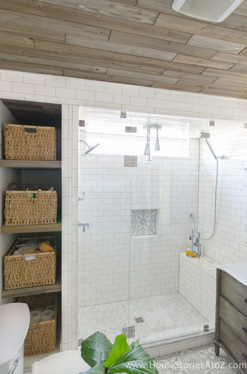 how to build bathroom shelves next to shower ranch house remodel rh pinterest com