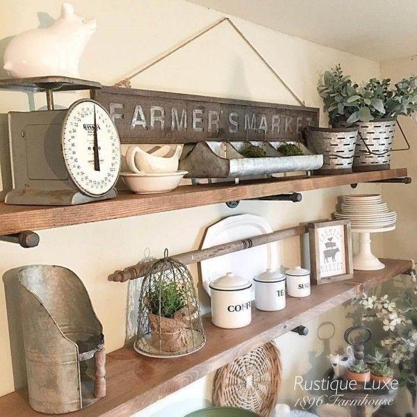wooden wall shelves with vintage accents kitchen farmhouse rh pinterest com