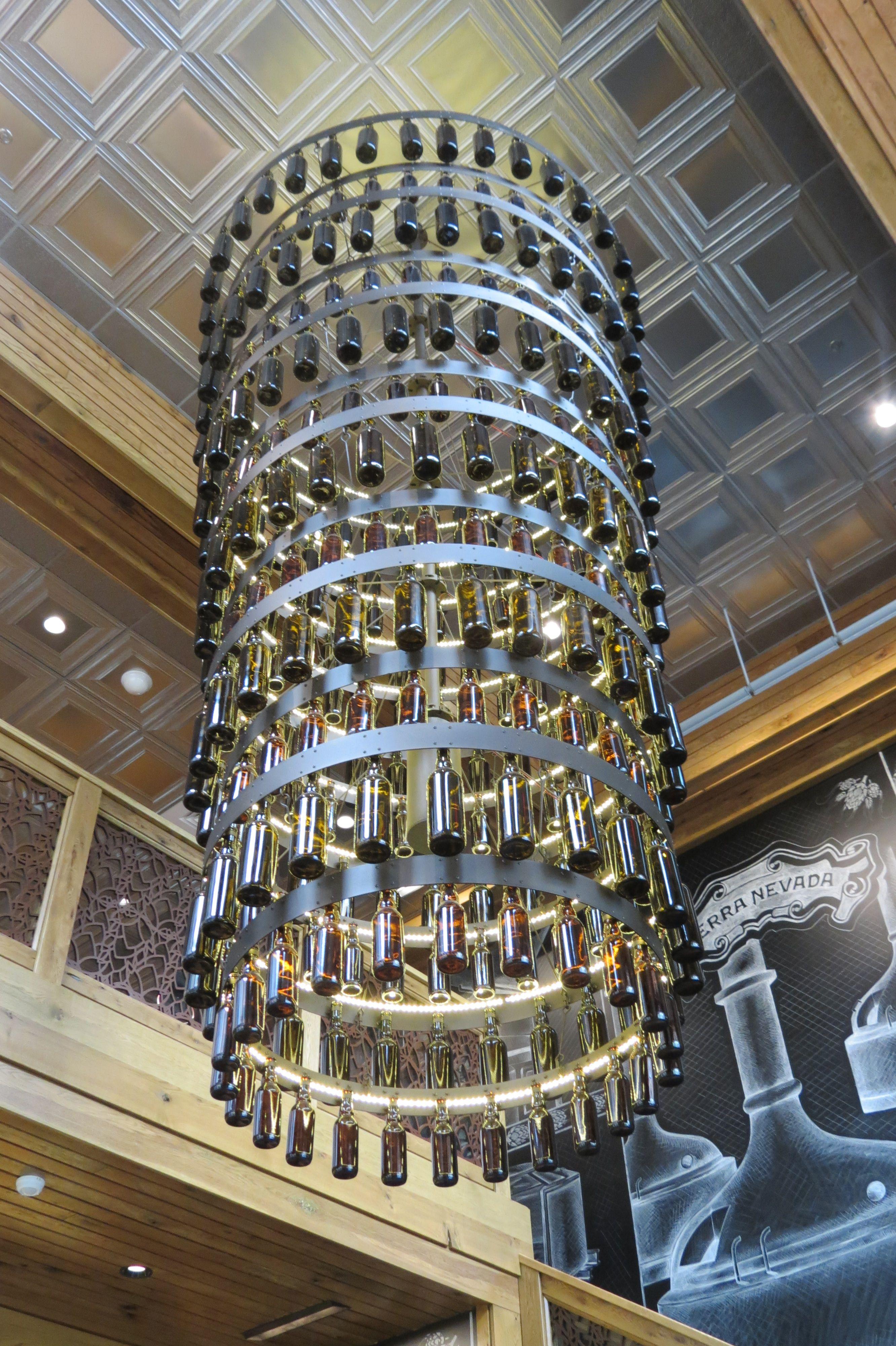 beer bottle chandelier in lobby of sierra nevada brewery near rh pinterest com
