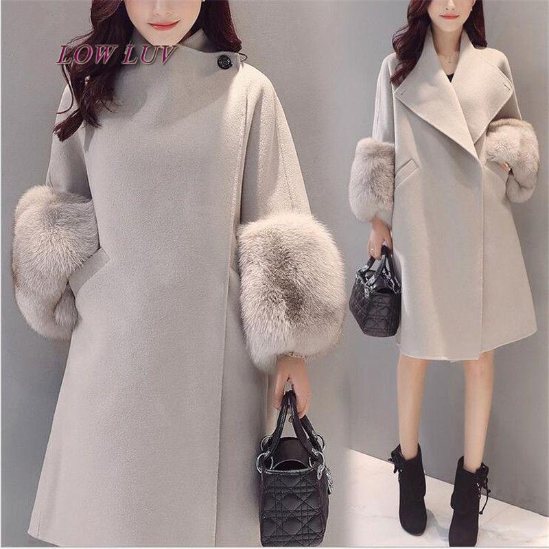 29068e38f05 Весна-осень-зима Для женщин Шерстяное пальто