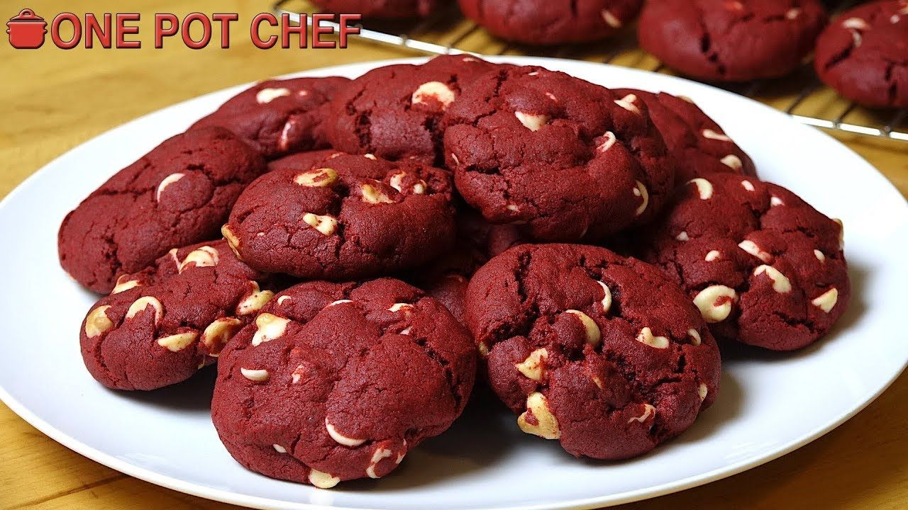 Red Velvet Chocolate Chip Cookies One Pot Chef Drop Cookie Recipes One Pot Chef Cookies Recipes Chocolate Chip