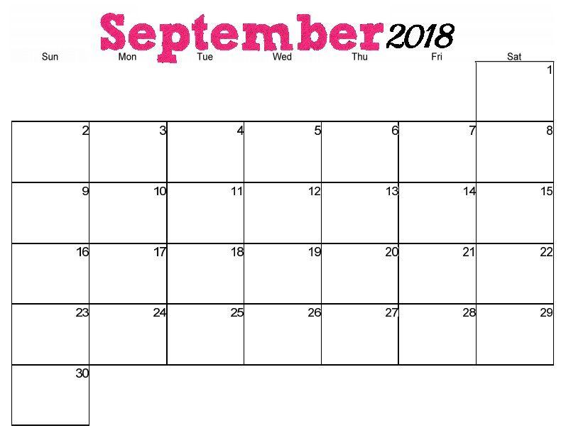 September 2018 Horizontal Calendar September Printable