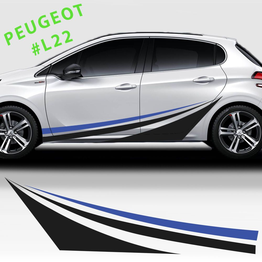 side sport racing stripes stickers decal for peugeot 208 207 308 racing stripes peugeot and. Black Bedroom Furniture Sets. Home Design Ideas