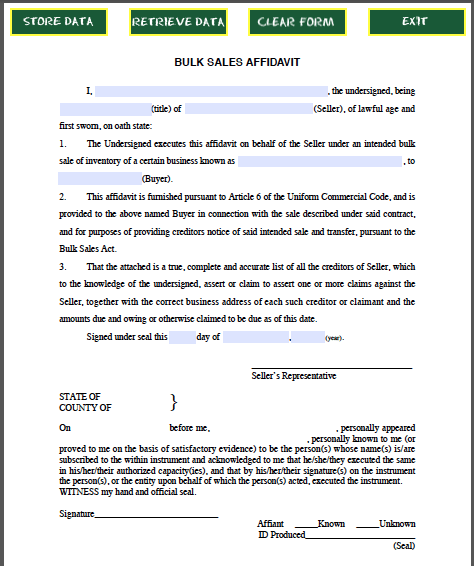 Bulk Sales Affidavit Form Official Templates – Affidavit Form