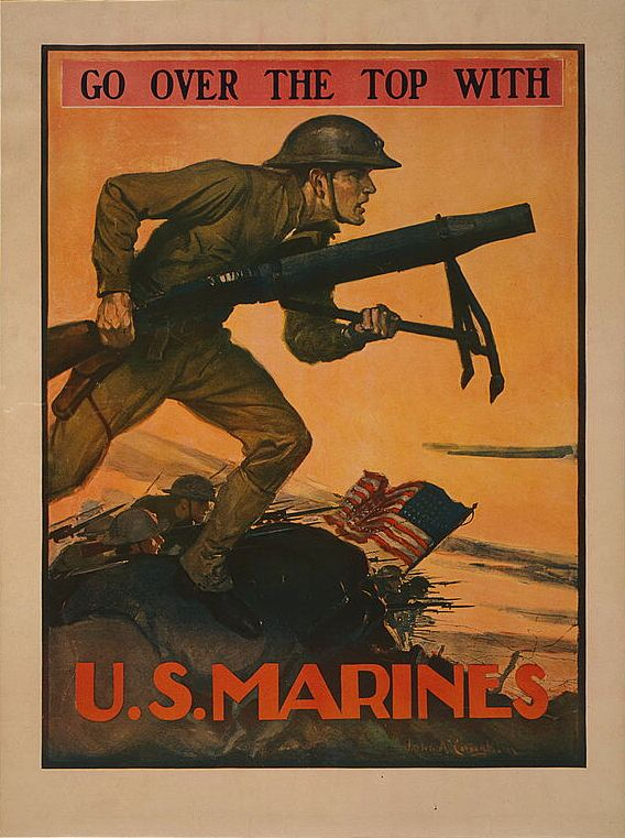 A World War I Era Recruitment Poster For The Marine Corps Designed By John A Coughlin Library Of Congress Marine Poster Military Poster Wwii Posters