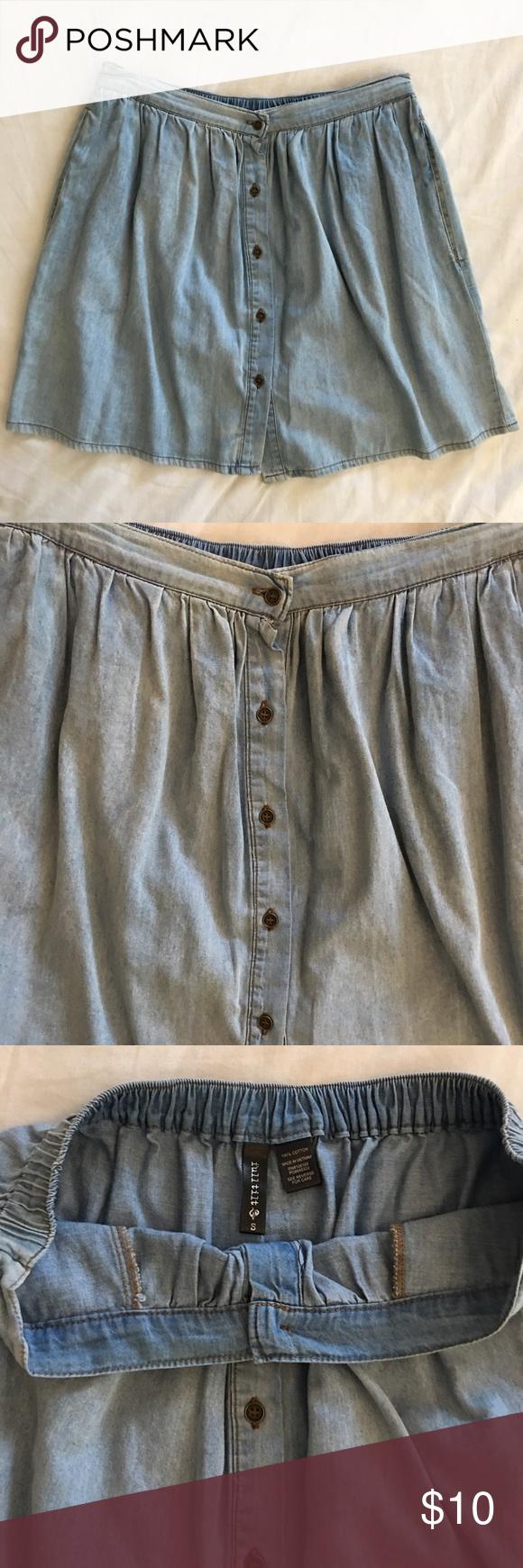 Full tilt Jean Skater Skirt Super cute never used. Jean material and color. Fulltilt size small Full Tilt Skirts Circle & Skater