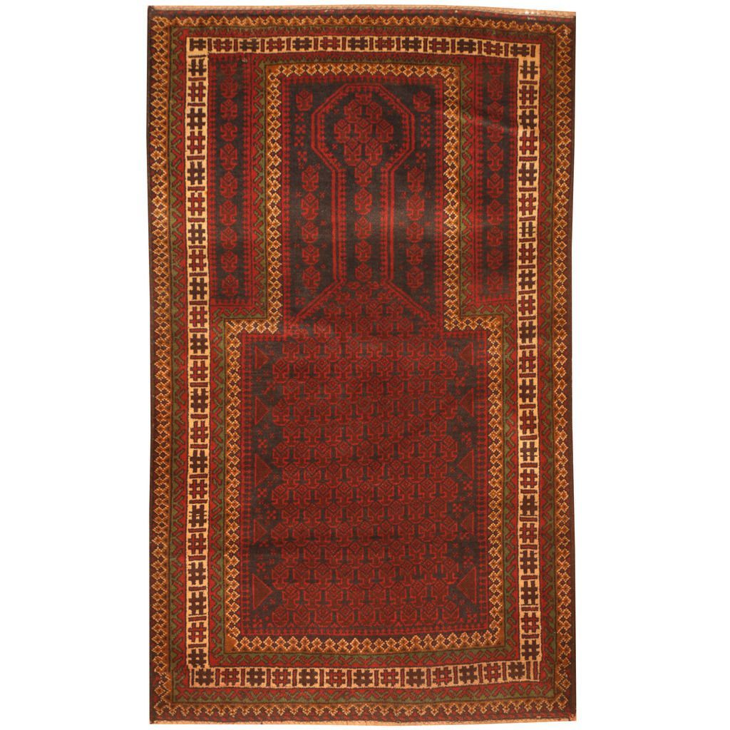 Herat Oriental Afghan Hand-knotted 1960s Semi-antique Tribal Balouchi Red/ Navy Rug