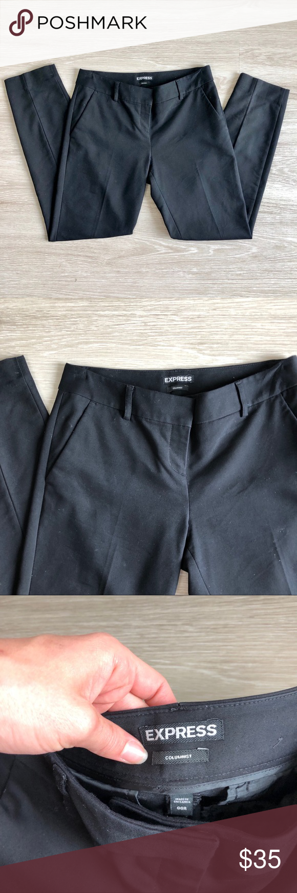 Express | Black Low-Rise Columnist Ankle Pant In excellent, preowned condition! Express | Black Low-Rise Columnist Ankle Pant. Size 00R. These pants are the perfect staple for your work wardrobe.  Material: 49% polyester, 47% cotton, 4% elastane. Style: 07459410.  Accepting all reasonable offers! Love more than one item in my closet? Take 20% off bundles of 2 or more items! Express Pants Ankle & Cropped