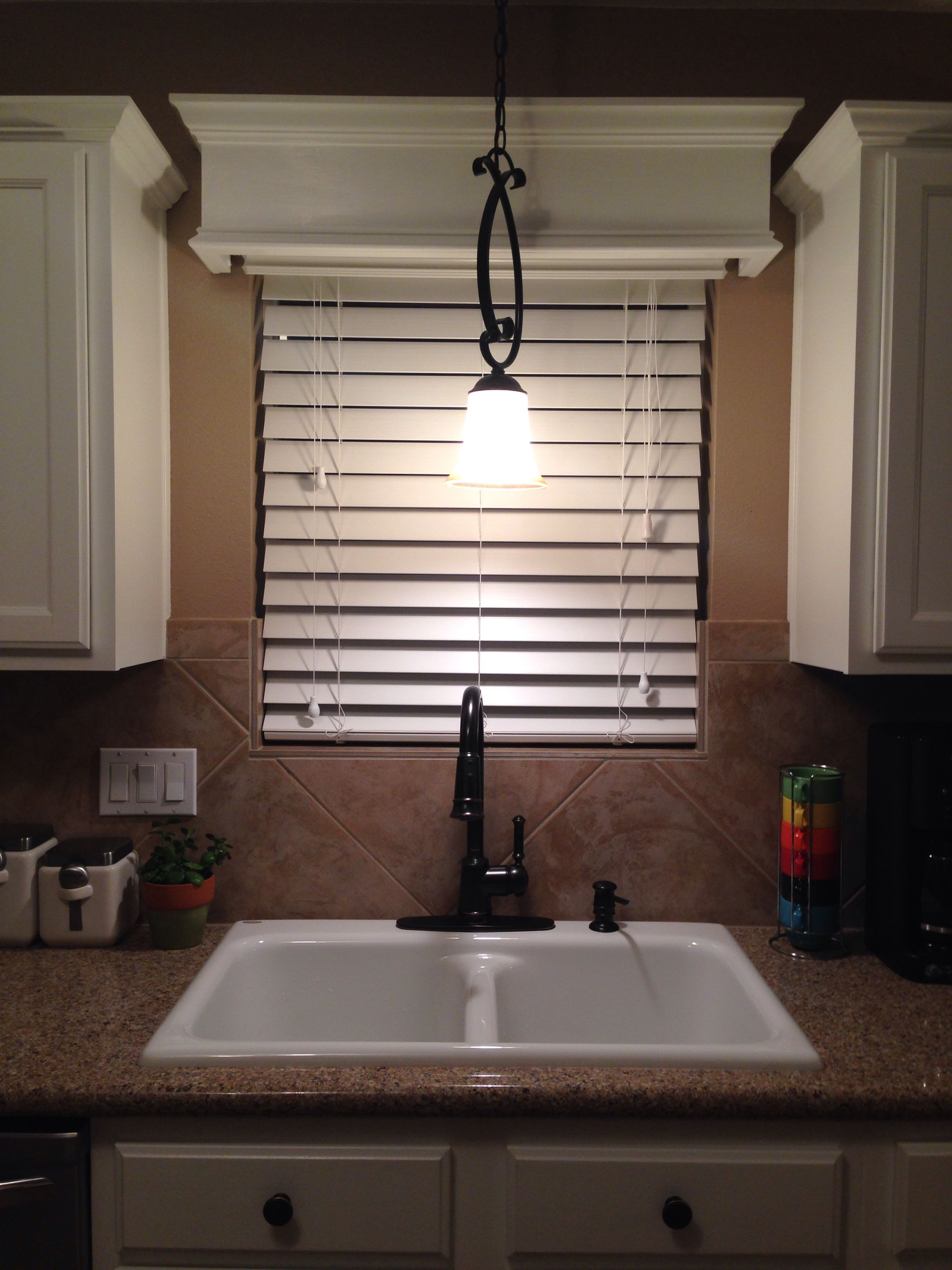 Super Easy Diy Wooden Cornice Board With Crown Molding In Kitchen
