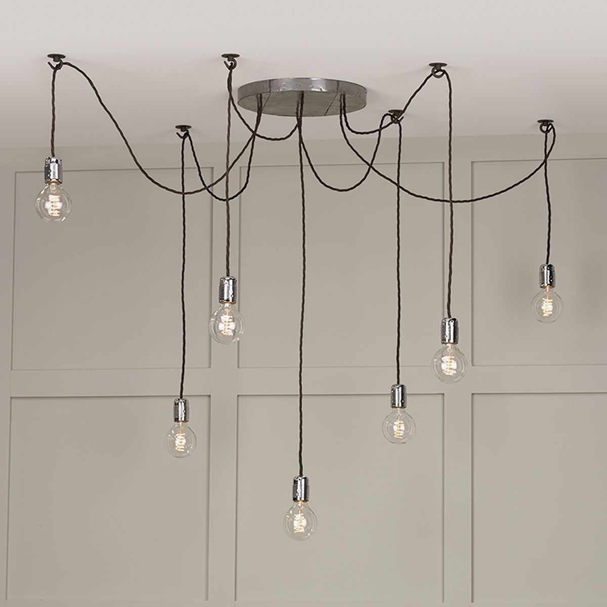 Huckleberry light cluster pendant lead grey study design board