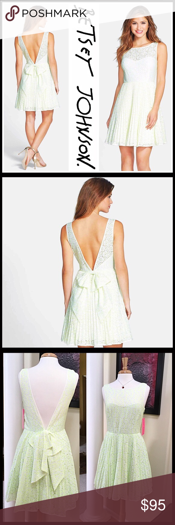 Betsey johnson wedding dresses  BETSEY JOHNSON DRESS Lace FitAndFlare NWT  Crew neck Green and Lace