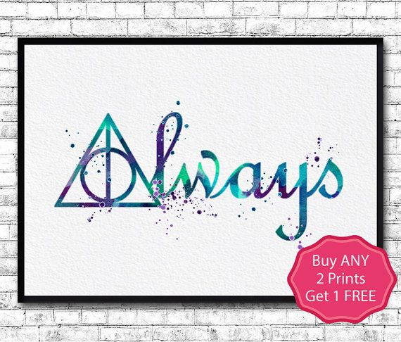 Harry Potter Deathly Hallows 2 Always Watercolor by ArtsPrint