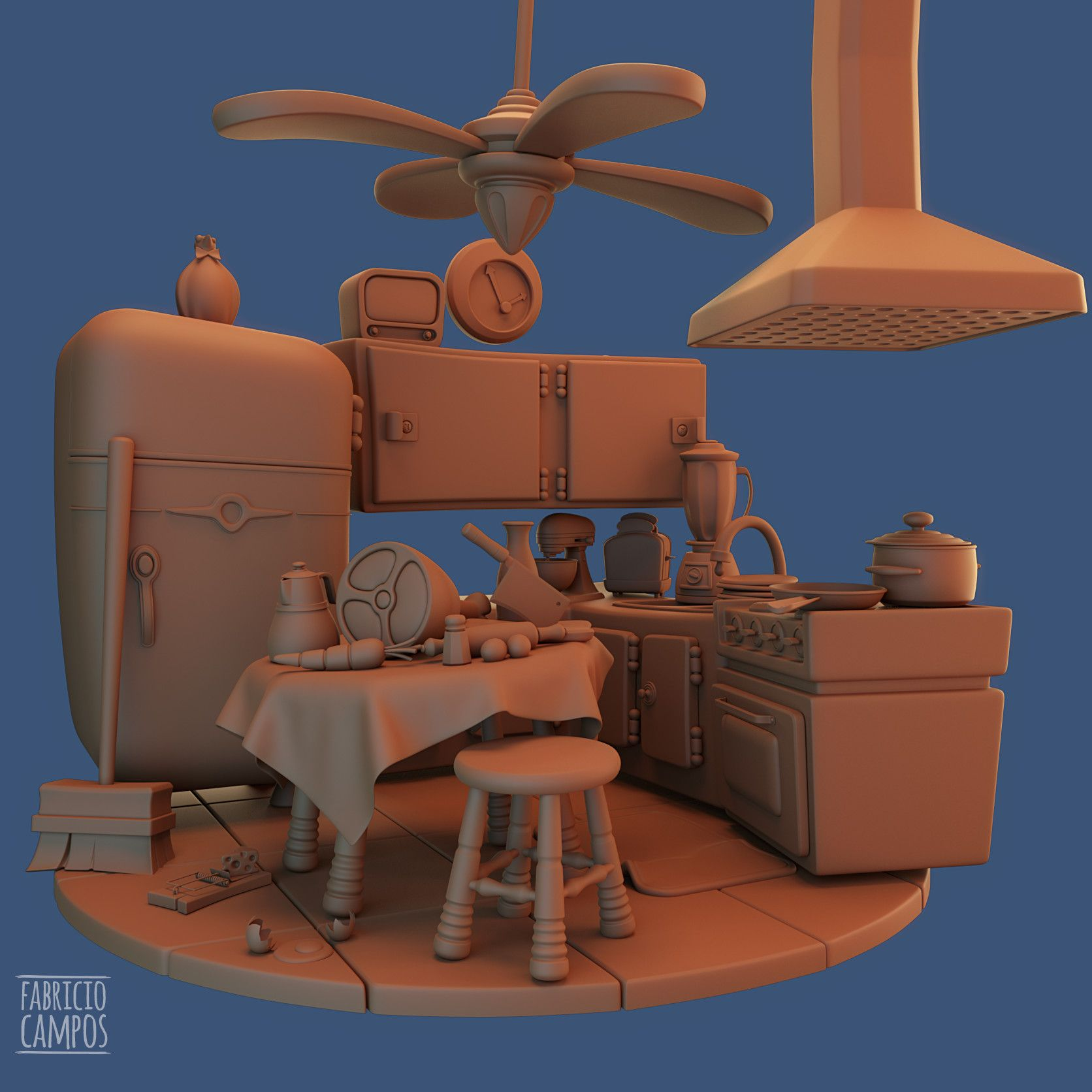Virtual 3d Home Design Game: ArtStation - Cartoon Kitchen, Fabricio Campos