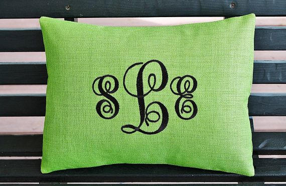 Outdoor Pillow Cover In Lawn Green Monogrammed