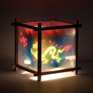 Dragon Phoenix Lamp Paper Lamp Western Red Cedar