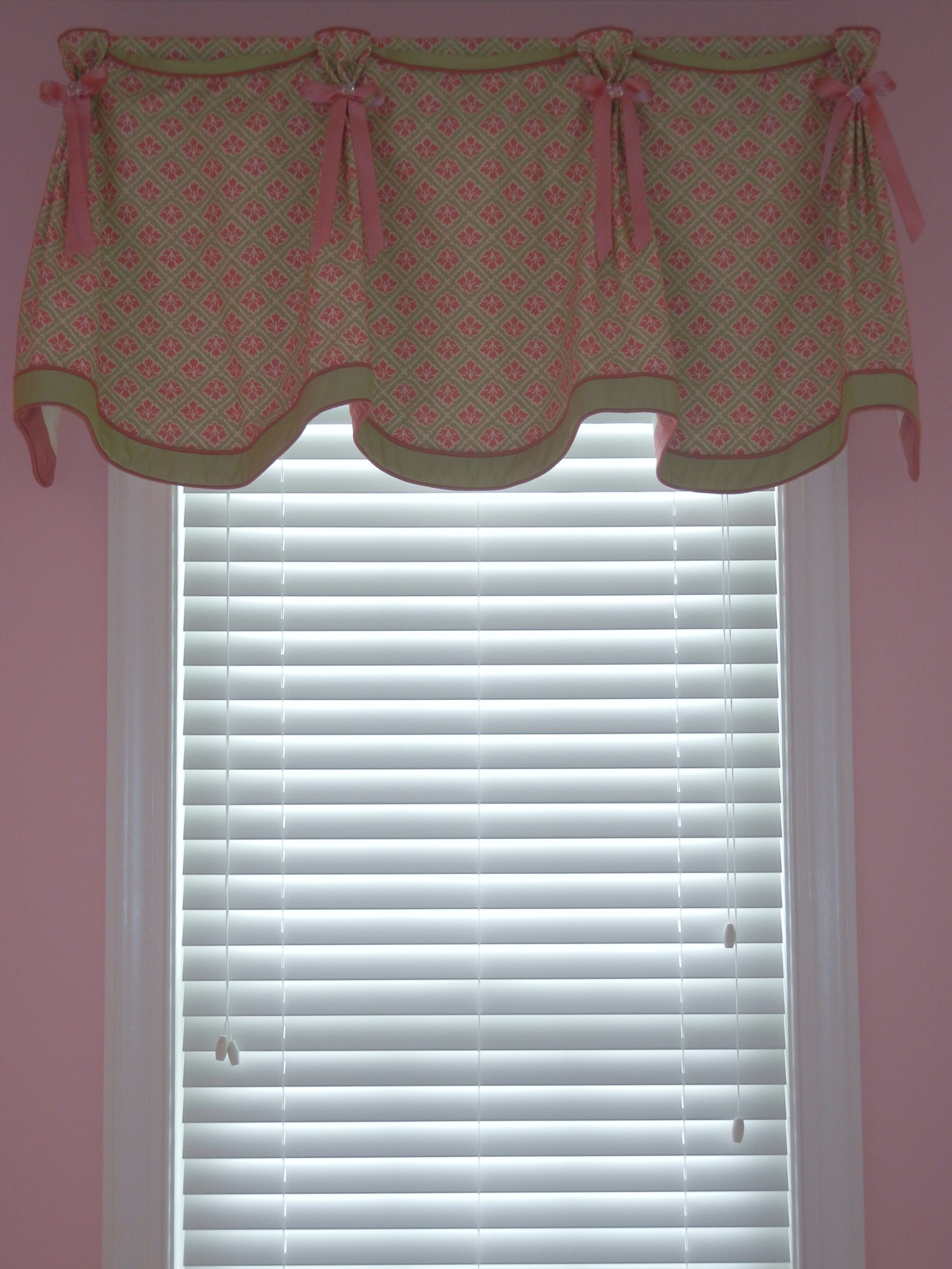 pleated valance with contrast banding and button and ribbon rh pinterest com