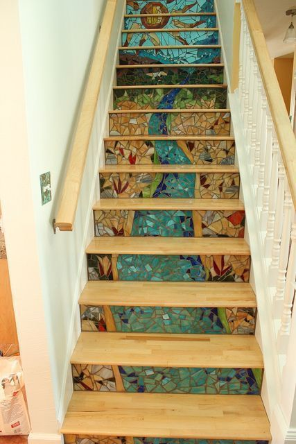 Best 15 Cool Ideas For Decorating Stair Risers Mosaic Stairs 400 x 300