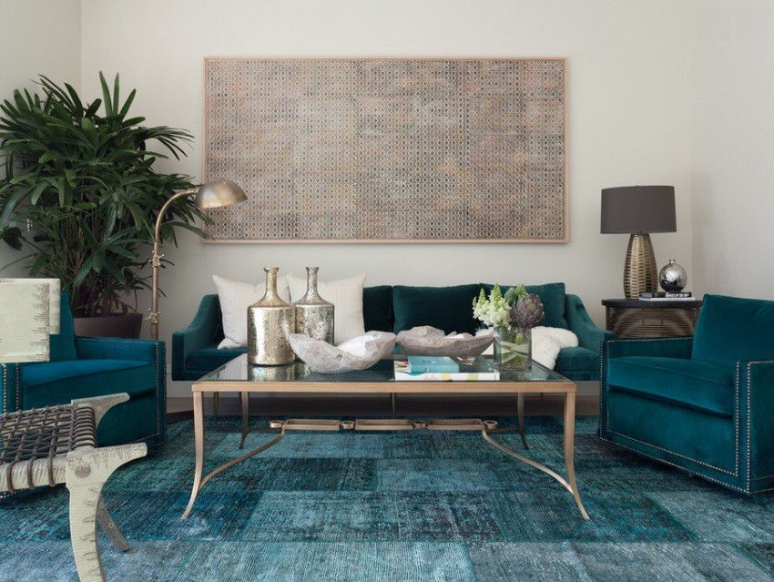 living room in blue%0A Teal blue overdyed rug in an eclectic living room Overdyed and Persian Rugs  That Bring Color to Any Room