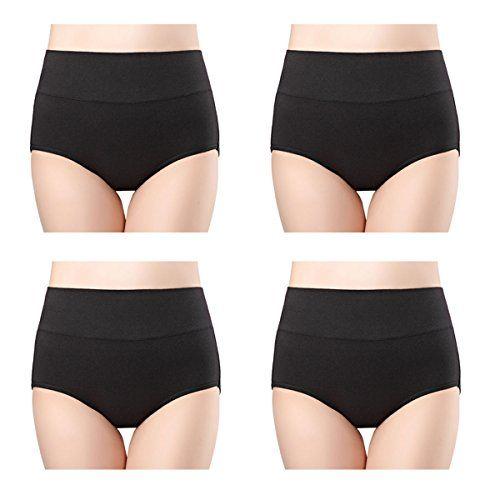 a6f44ab84241 wirarpa Womens Cotton Underwear 4 Pack High Waist Briefs Light Tummy  Control Ladies Comfort Stretch Panties Underpants