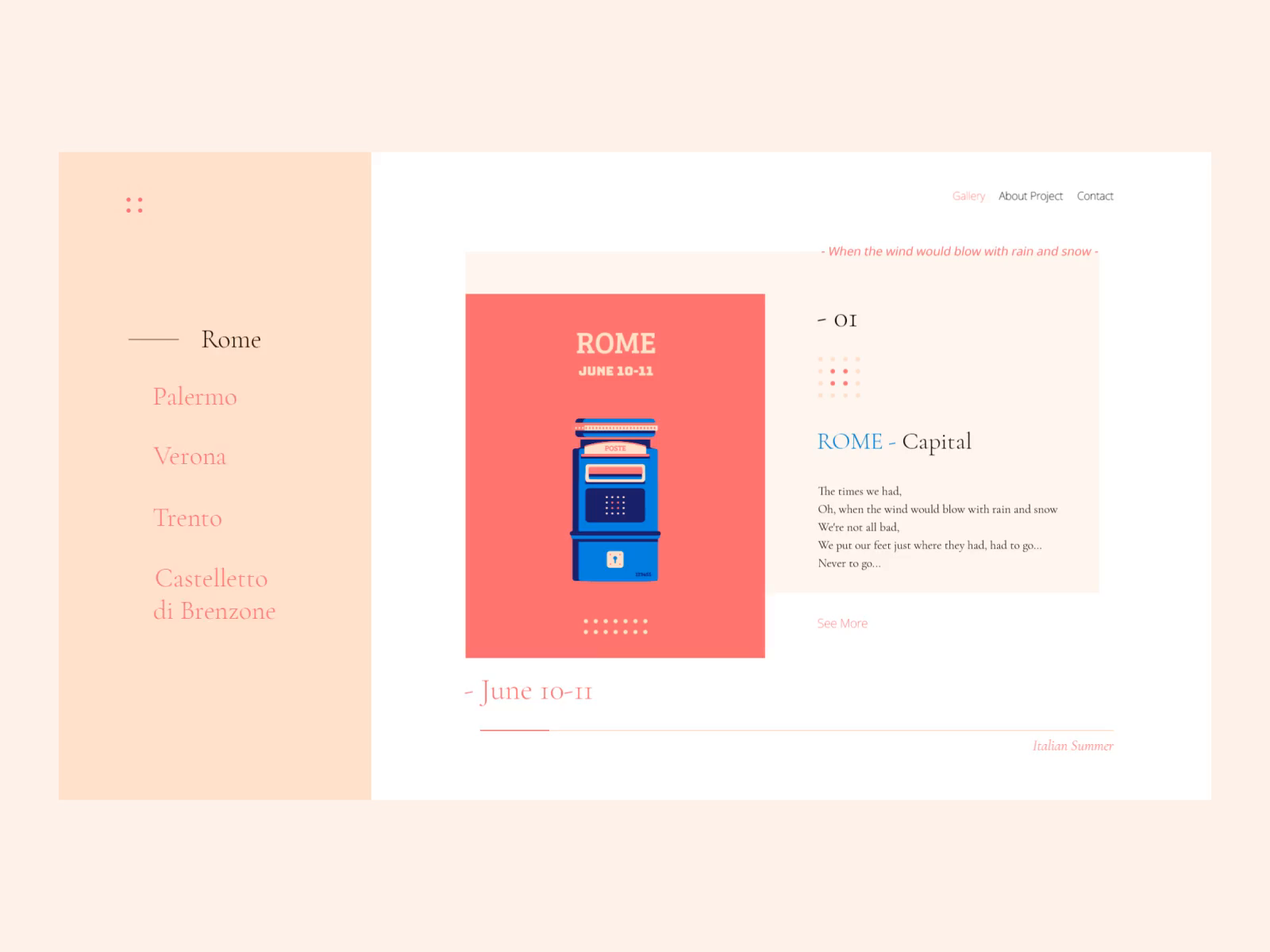 Italian Summer Web By Nino Lekveishvili Italian Summer Web Design Web App Design
