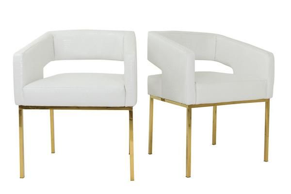 Open Back Chair In Faux White Croc And Brass Legs
