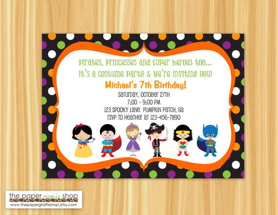 kids costume party halloween polka dots birthday invitation