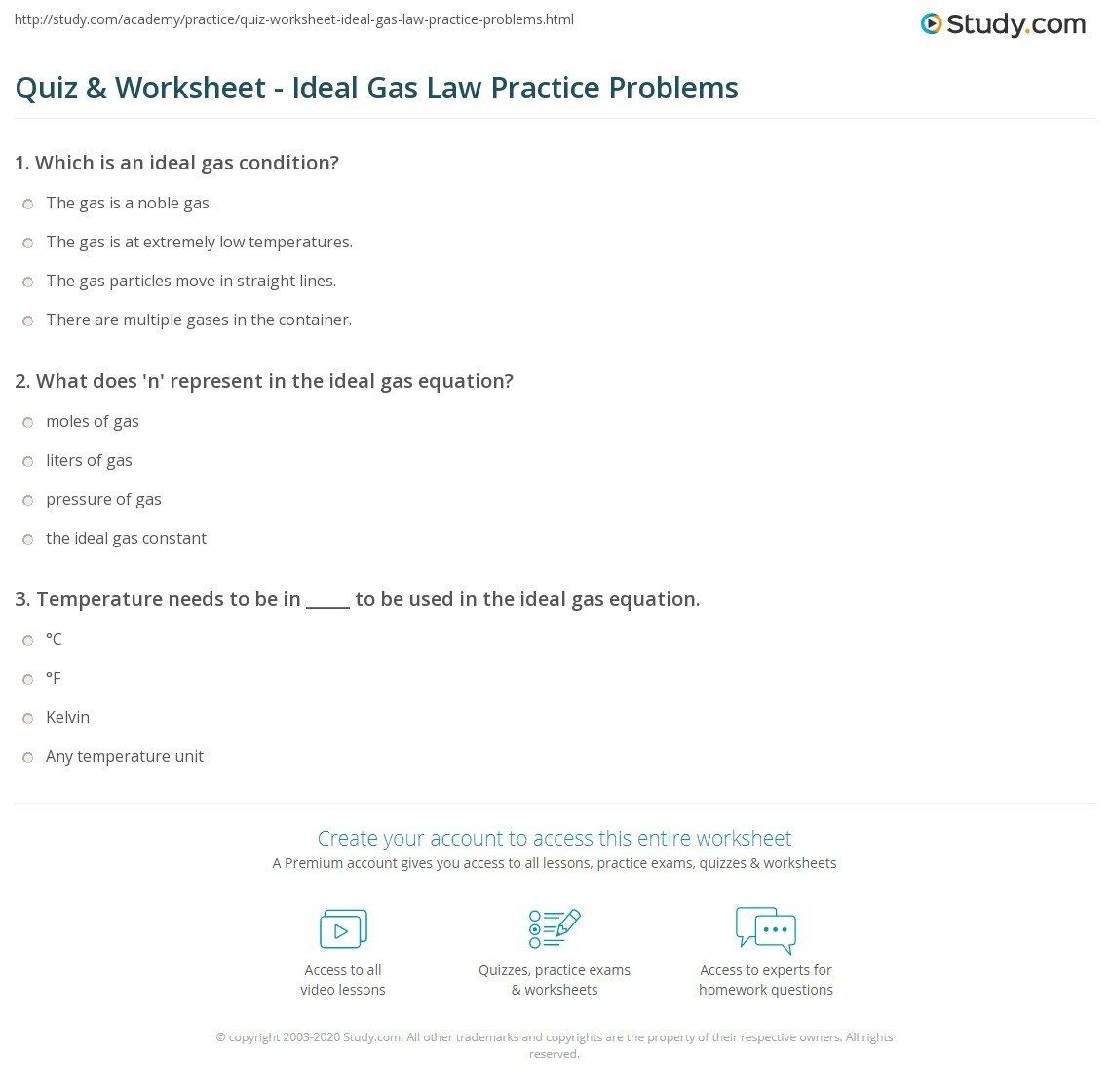 Charles Law Problems Worksheet Answers