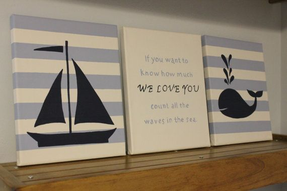 Nautical Nursery Wall Decor Baby Boy 8x10 Paintings Sailboat Anchor Whale