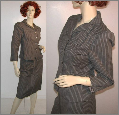 40's Deco Fitted Vintage Skirt Suit Gray Wool Tailored Pinstripe S | eBay