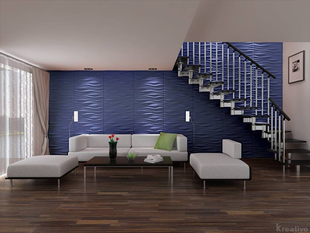 Living Room Under Stairs With Blue Wall 3d Wallpaper Cool 3d wallpaper for home interior wall ...