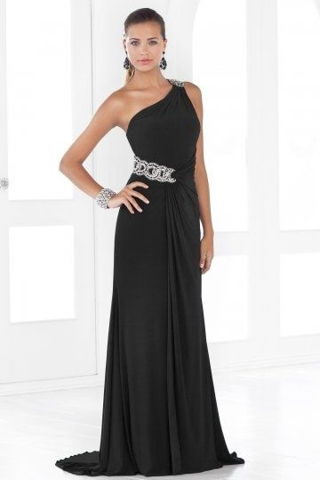 Ein-Schulter schwarzes bodenlanges Ballkleid/Abendkleid mit Perlen ...