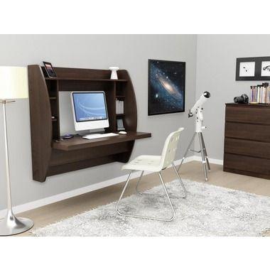 Floating Desk With Storage In Black White Or Brown Skymall Http Www Skymall Com Floating Desk With Stor Floating Desk Desk Storage Prepac Floating Desk