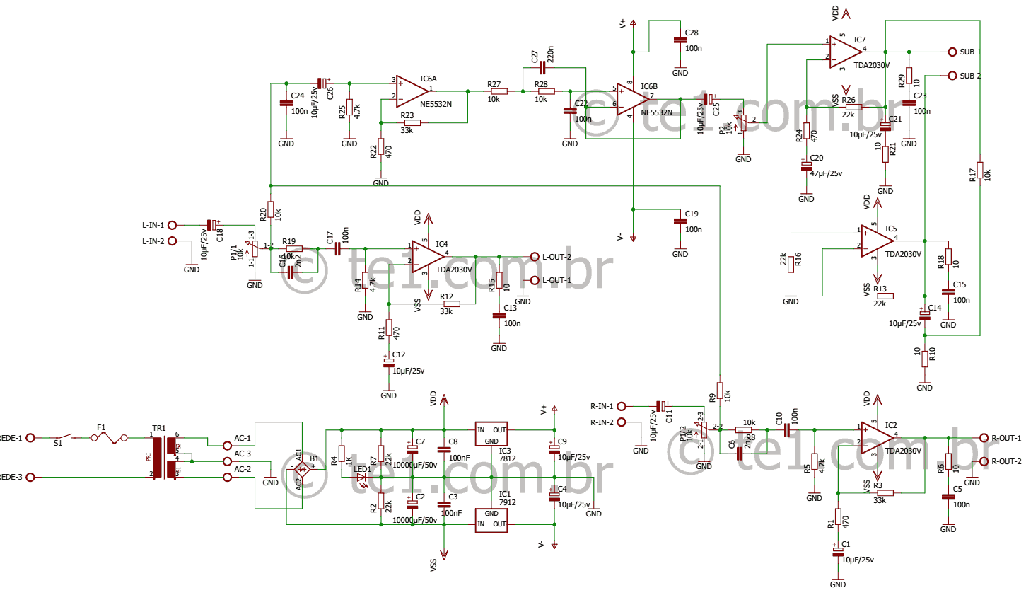 amplificador tda2030 2 1 subwoofer esquema 700x406 Amplificador de ...