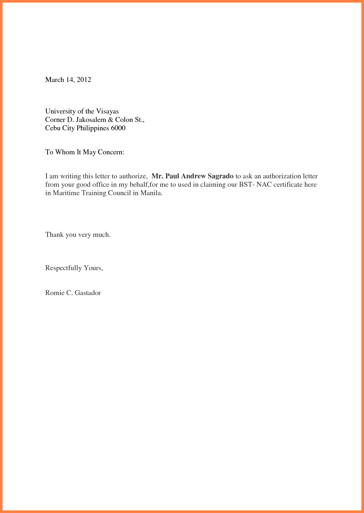 Authorization Letter For Claiming Documentsthorization Account
