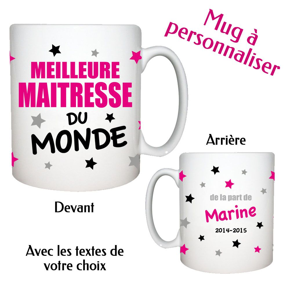 Cadeau maitresse   maitre - Mug MEILLEURE MAITRESSE   ATSEM personnalisable  avec vos textes Existe dans un coloris plus masculin pour les maitres Mug  en ... 241464cdaa1
