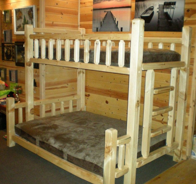 Clear Finish twin over queen bunkbed. Log bedroom